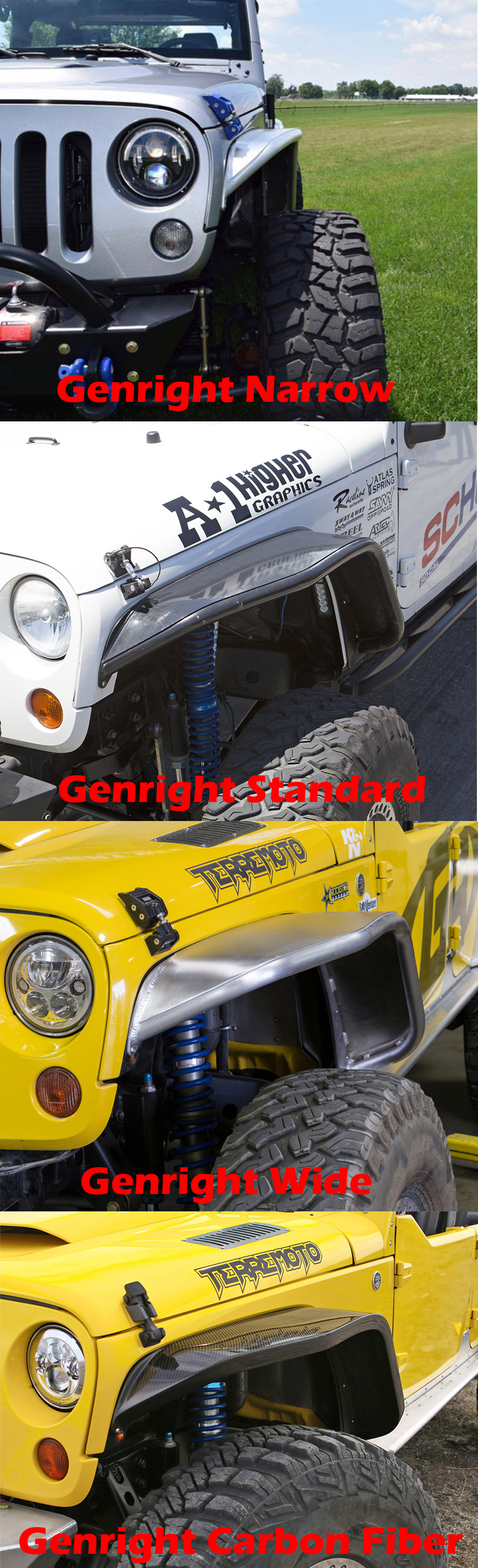 genright jeep jk tube fenders